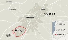 Ubicación geográfica de Daraya (Fuente: The Guardian)
